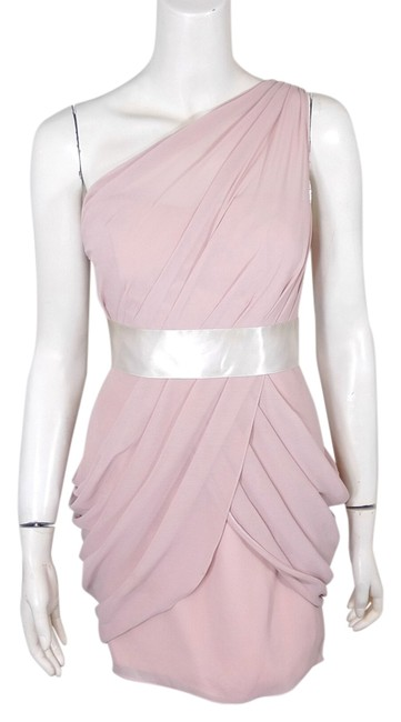 Item - Light Pink Women Bridesmaid Coctail One Shoulder Above Knee Formal Dress Size 0 (XS)