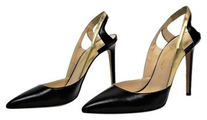 Alejandro Ingelmo Slingback Stiletto Pointed Toe Leather Black, Gold Pumps