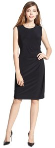 T Tahari Draped Crew Neck Work Office Contemporary Sleeveless Sleek Lbd Stretchy Flattering Dress