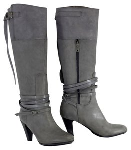 Joy Gryson Grey Leather Knee High Boots