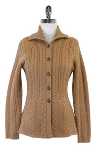Brooks Brothers Camel Cable Knit Cashmere Sweater