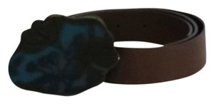 Marni Brown Leather & Teal Floral Buckle Belt