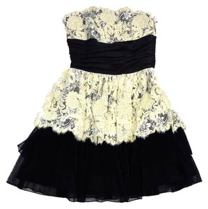 Betsey Johnson short dress Black Yellow Strapless on Tradesy