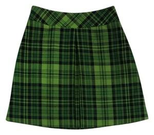 Anna Sui Green Plaid Wool Mini Mini Skirt