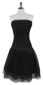 Shoshanna short dress Black Lace Strapless on Tradesy