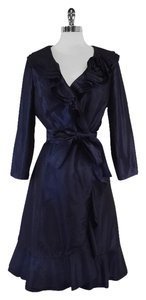 Teri Jon Navy Silk Coat