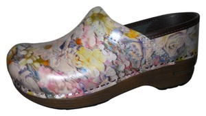 Dansko Leather multi color print Mules