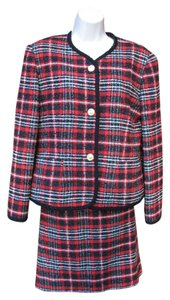 WEILL WEILL Paris Couture Skirt Jacket 6 8 Wool Blend Tweed Suit Plaid Red Black