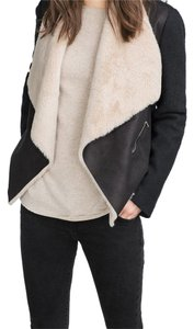 Zara Shearling Suede Black Jacket