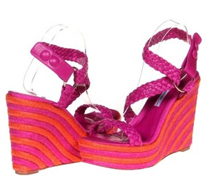 Brian Atwood Wedge Espadrille Leather Pink Sandals