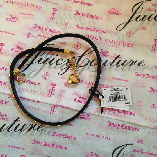 Juicy Couture Juicy Couture Black Leather Pave Crown Double Wrap Bracelet YJRU7507