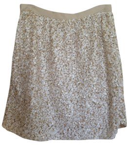 Club Monaco Mini Sequin Mini Skirt Cream and White
