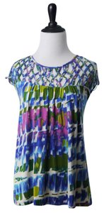 Tracy Reese Top Blue and Pink and Green