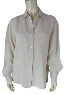 Talbots Linen Irish Linen Button Front Long Sleeves Pointelle Tunic Side Slits Boho 10 Top Natural Beige