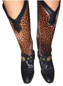 Mima Venezia Black leather & Leopard Print Boots