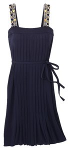 Tory Burch Navy Pleated Dress