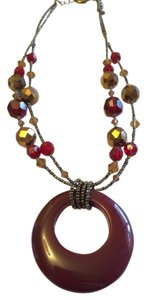 Lia Sophia Red and Gold Necklace