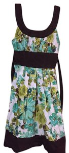 Trixxi short dress green and brown and white Flowers Fancy Cute Preppy on Tradesy