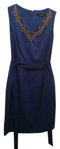 Ellen Tracy Embellished Sheath Belted Dress