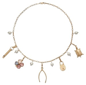 Tory Burch NEW Tory Burch Short Charm Necklace - Removeable Charms Whistle Wishbone Turtle Flower