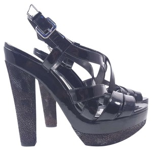 INC International Concepts Glemour Patent Platform Size 9.5 Black Sandals