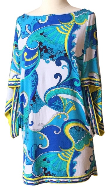 Item - Teals and Yellow Paisley On A White Background. Cover-up/Sarong Size 10 (M)