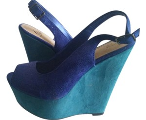 Dollhouse Slingback Blue & Teal Wedges