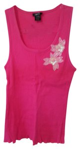 Rue 21 Sheath Shell Embellished Embroidered Beaded Sequin Stretchy Comfortable Casual Sun Day Warm Sleeveless Summer Spring Top Bright Pink with pearly white applique