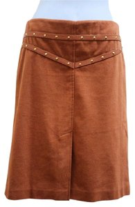BCBGMAXAZRIA Leather Trim Studded Slit Skirt Brown