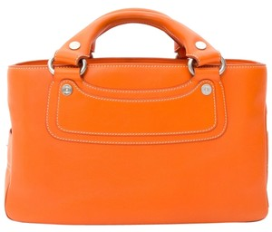 Céline Classic Silver Hardware Bright Tote in Orange