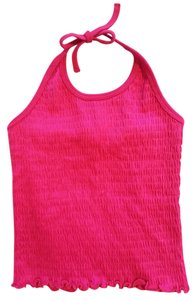Simply Basic Sheath Shell Blouse Shirt Stretchy Elastic Sleeveless Cute Day Summer Spring Casual Hot Warm Acrylic Ties Tie Bare Bow Fuchsia Halter Top