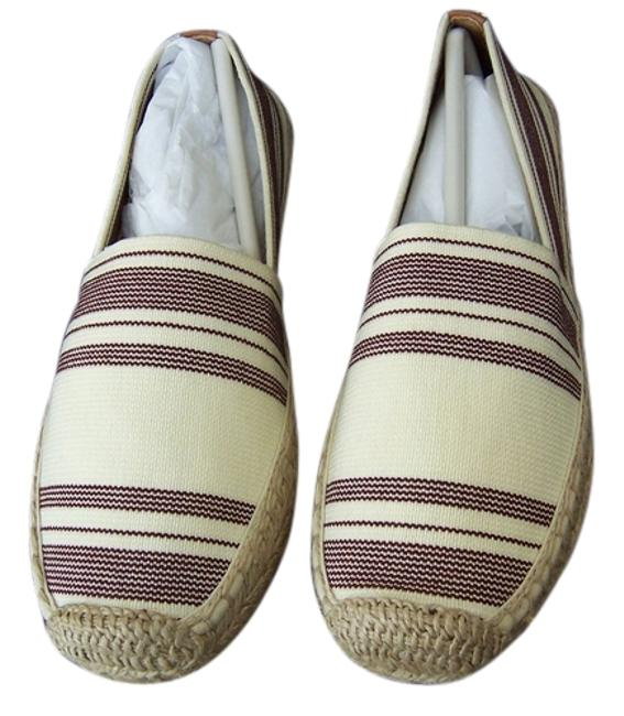 Tory Burch Plum/Tan Box Awning Stripe Espadrilles - New In Flats Size US 8.5 Regular (M, B) Tory Burch Plum/Tan Box Awning Stripe Espadrilles - New In Flats Size US 8.5 Regular (M, B) Image 1