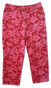 Faded Glory Pants Jeans Cropped Capris Dark red and hot pink floral pattern
