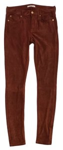 7 For All Mankind Brick Orange Suede Jeans Skinny Pants