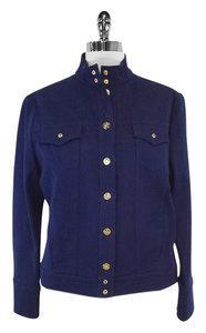 St. John Blue Mandarin Collar Cotton Jacket