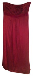 Banana Republic Strapless Red Runched Dress