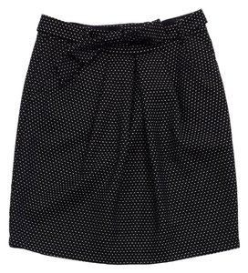 Nanette Lepore Black Tan Dot Wool Skirt