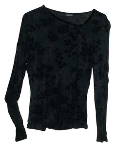 Tahari Off Center Neckline Top Black/Multi