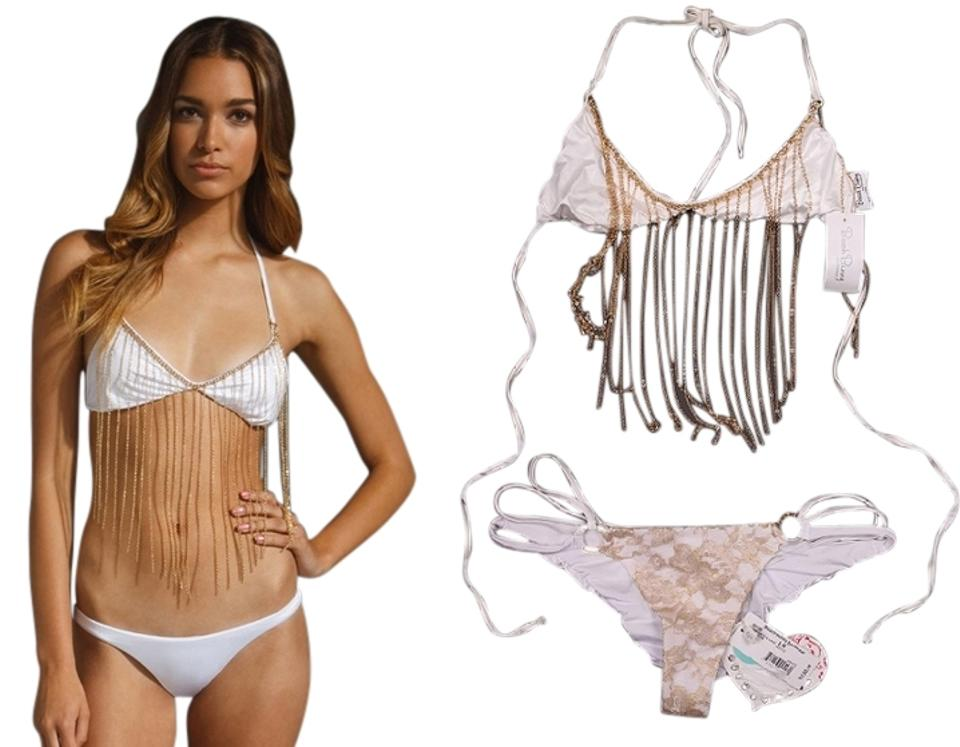 6c434e9692f63 Beach Bunny White Sea Of Love Top Gunpowder   Lace Bottom Bikini Set ...