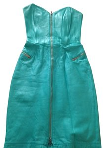 Michael Hoban Leather Strapless Dress