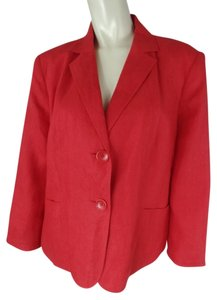 Talbots Womans Petite Linen Irish Linen Button Front Lined 3/4 Sleeves Pads Plus-size Pockets Red Blazer