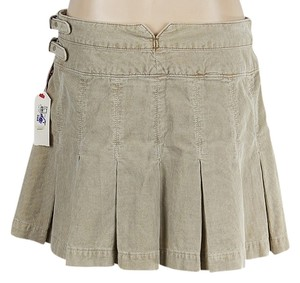 Joie Corduroy Pleated Mini Skirt Tan