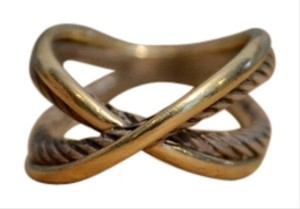 David Yurman David Yurman Sterling Silver & Gold Cable Crossover Ring