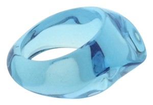 Baccarat BACCARAT GALET RING Light Blue FULL LEAD CRYSTAL SIZE 6 NEW FRANCE