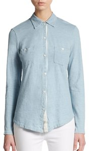 Splendid Button Down Shirt Powder Blue