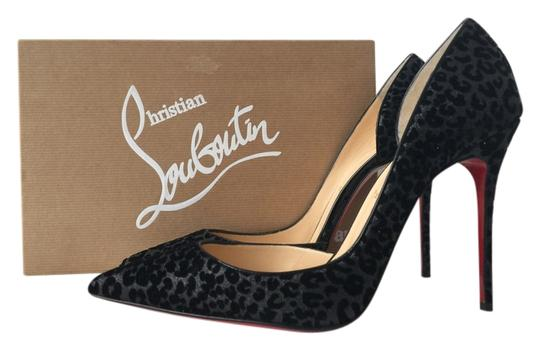 quality design 080a8 3b086 Christian Louboutin Black Iriza 100 Glitter Leopard Print Floque Patent  Leather Pumps Size US 9.5