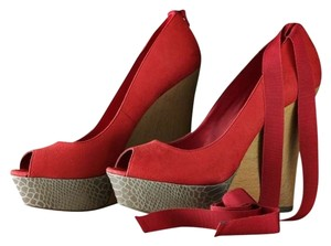 Jennifer Lopez Peep Toe Suede Coral and Tan Wedges