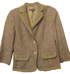 Ann Taylor Professional Blazer Lined Self Fringe Cotton Linen Multi-Color Jacket