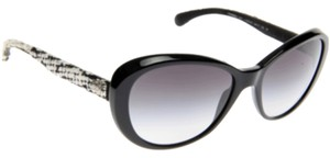 Chanel Chanel Black And Cream Tweed Sunglasses