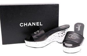 Chanel Wedge Leather Logo Black/Silver Sandals
